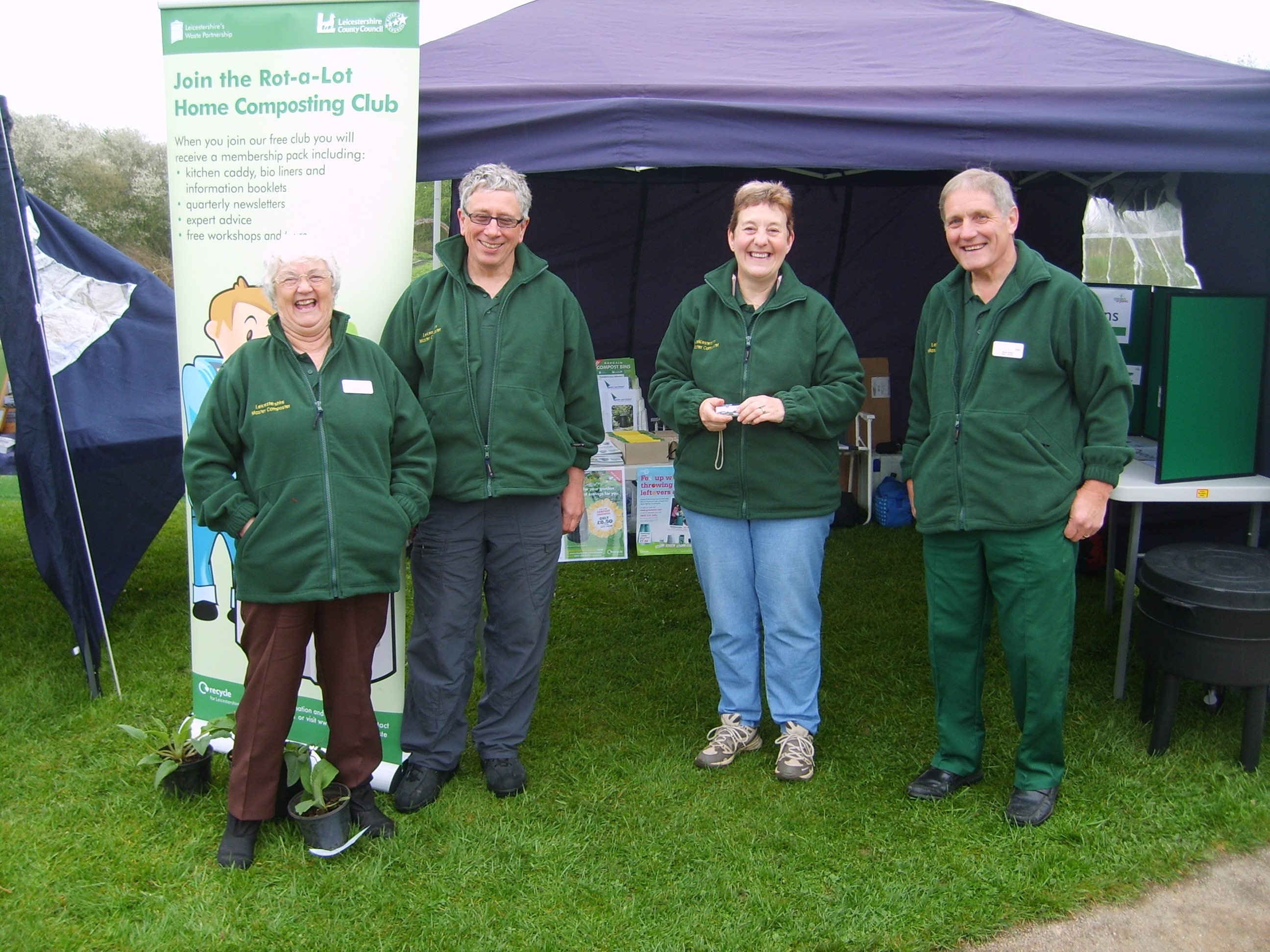 Volunteers at an event with a stall